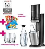 SodaStream Crystal 2.0 Wassersprudler-Set mit CO2-Zylinder, 2x Glaskaraffen, 2x Trinkgläsern, 6x Sirupproben, titan, Promopack