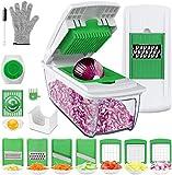 Uvistare Gemüseschneider Obstschneider kartoffelschneider, Mutischneider Gemüsehobel mit Messereinsätzen Handschuh zum Würfeln/Scheiben/Reiben/Hobeln/Raspeln und Eiertrennen