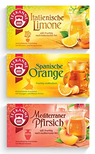 Teekanne Ländertee 3er Set - Mediterrane Früchte - Italienische Limone, Spanische Orange, Mediterraner Pfirsisch (150g)