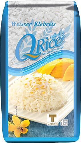 Q RICE Klebreis – Weißer, klebriger Langkornreis – Ideal für die asiatische Küche & für Desserts – 1 x 1 kg