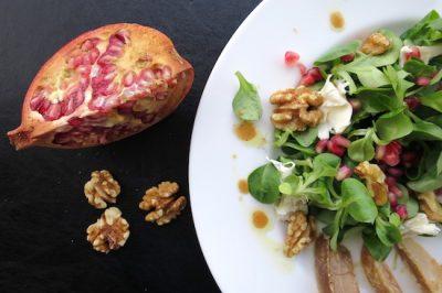 Granatapfel-Salat mit karamellisierten Birnen