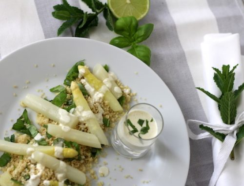 Honig-Spargel auf Kräuter-Couscous